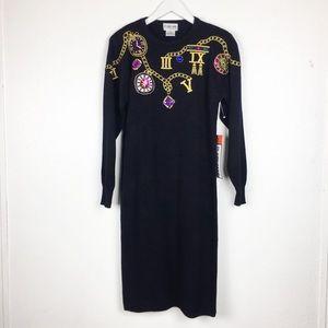 Vintage Plain Jane Size S Black Sweater Dress